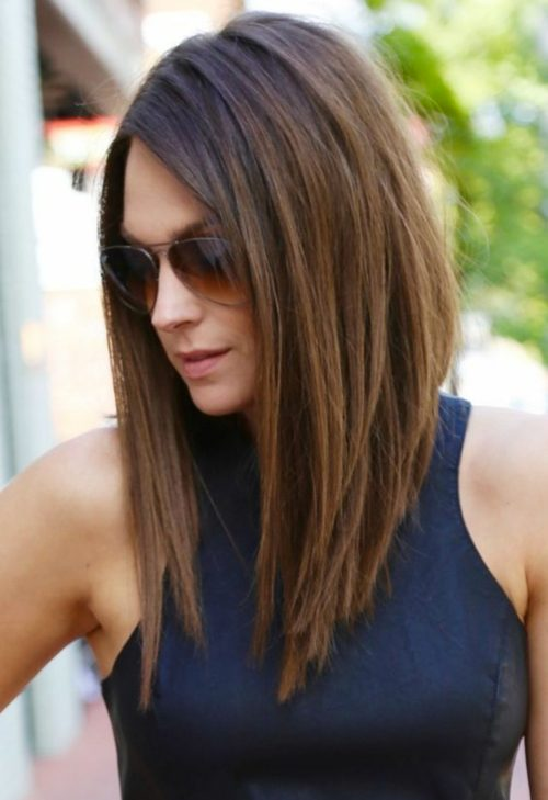 gaya rambut sleek long bob